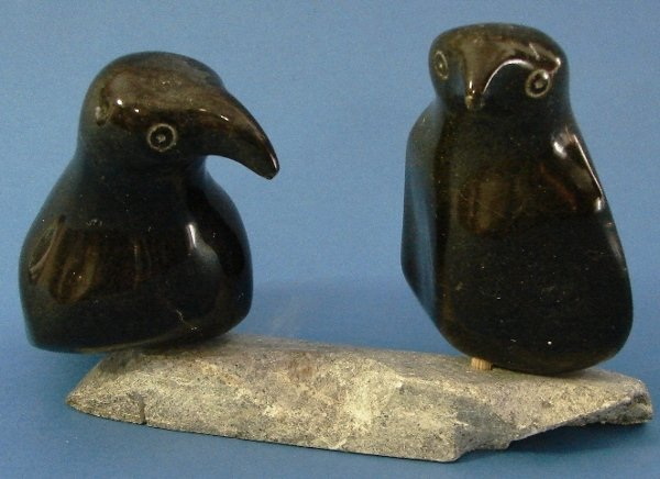 7009: Hand Carved Inuit Artic Birds