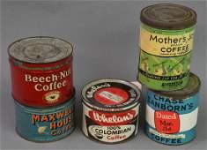 Five Coffee Tins