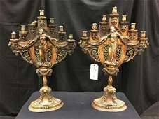 Figural Bronze Candelabras