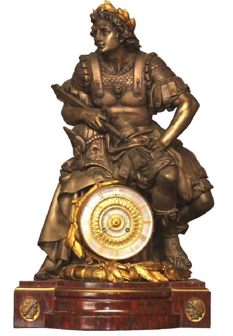 Julius Caesar Figural Gilded Bronze Mantel Clock