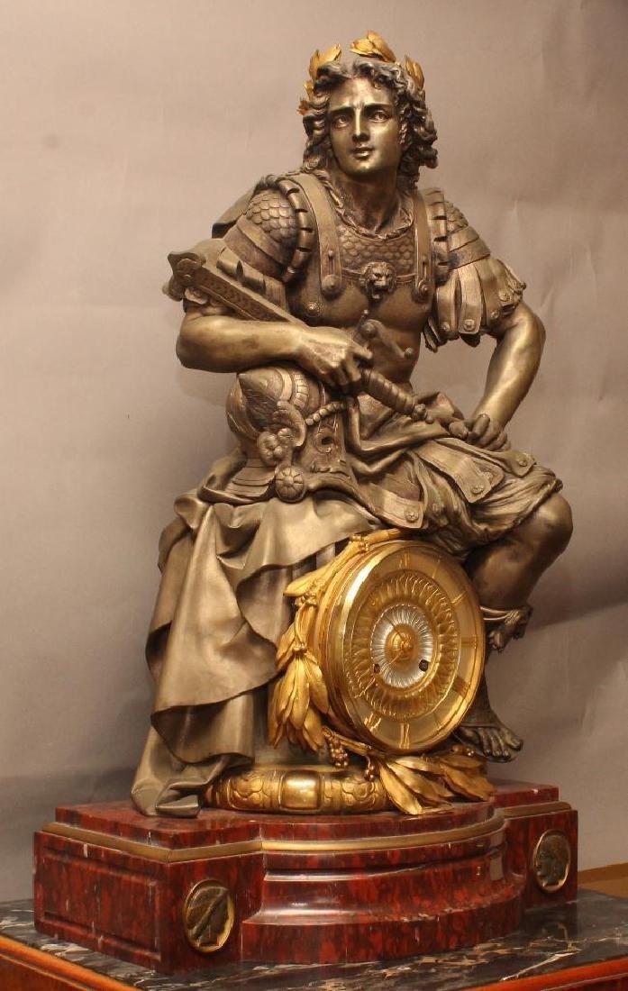 Julius Caesar Figural Gilded Bronze Mantel Clock - 2