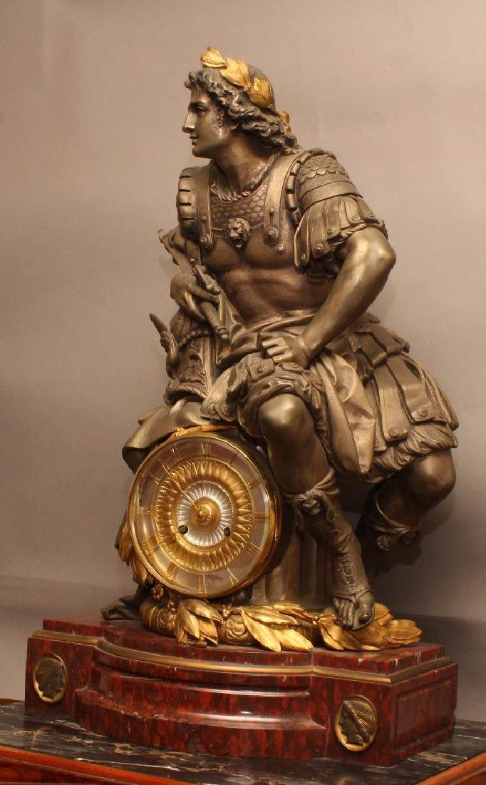Julius Caesar Figural Gilded Bronze Mantel Clock - 3