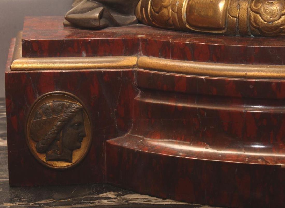 Julius Caesar Figural Gilded Bronze Mantel Clock - 4