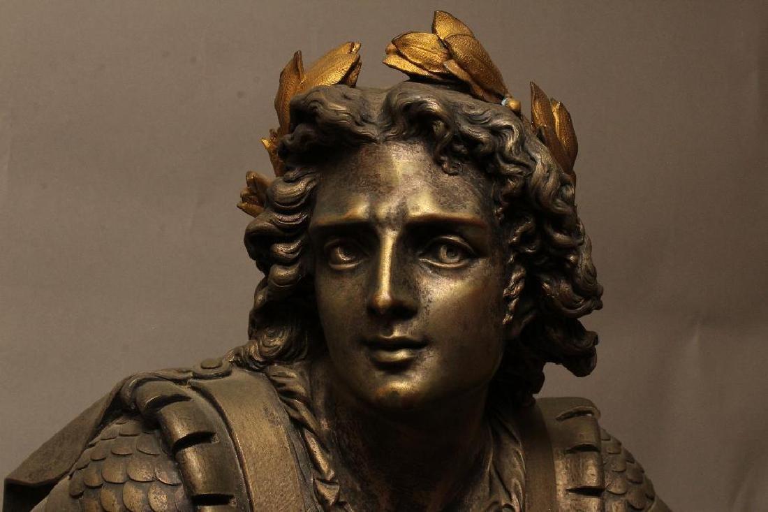 Julius Caesar Figural Gilded Bronze Mantel Clock - 6
