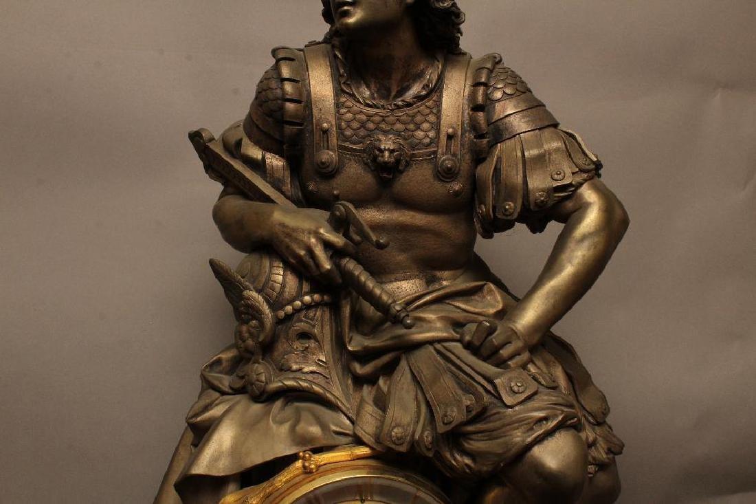 Julius Caesar Figural Gilded Bronze Mantel Clock - 7