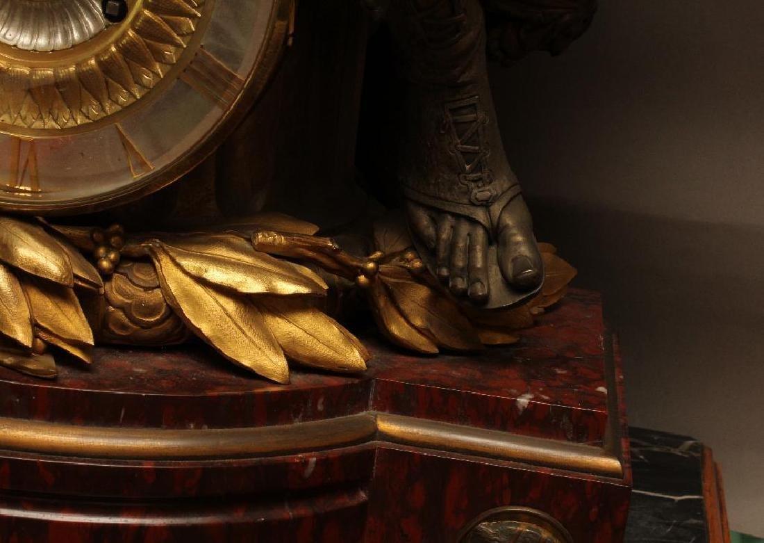 Julius Caesar Figural Gilded Bronze Mantel Clock - 8