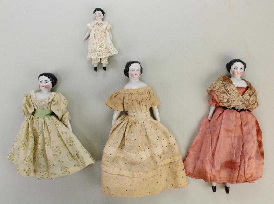 LOT OF (4) ANTIQUE CHINA HEAD DOLLS.