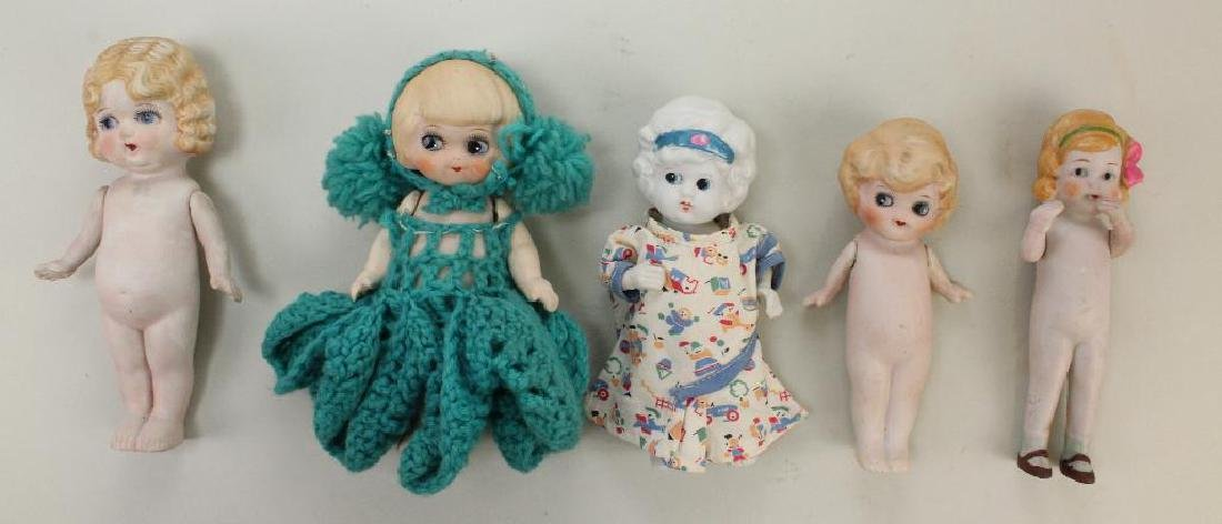 LOT OF (5) ALL BISQUE BETTY BOOP TYPE DOLLS.