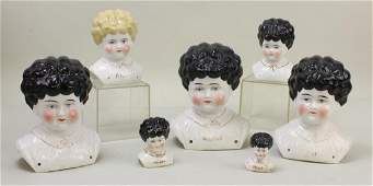 """LOT OF (7) ANTIQUE CHINA """"PET NAME"""" LOW BROW HEADS."""