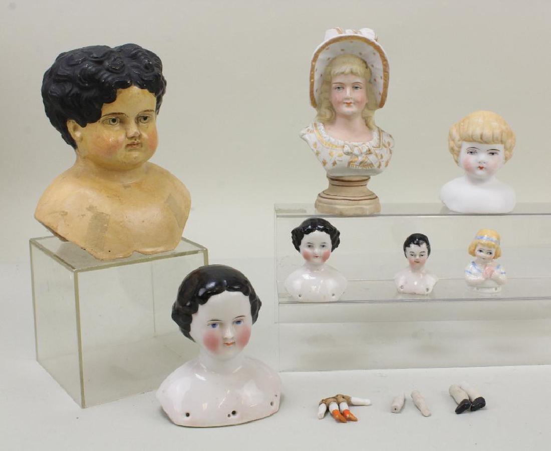 LOT OF ANTIQUE DOLL HEADS: PAPIER MACHE, CHINA,  PARIAN;