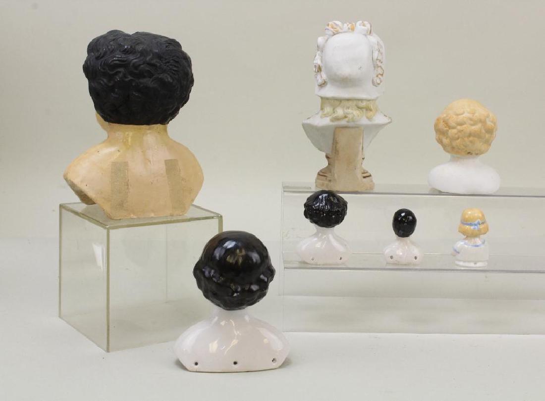 LOT OF ANTIQUE DOLL HEADS: PAPIER MACHE, CHINA,  PARIAN; - 3