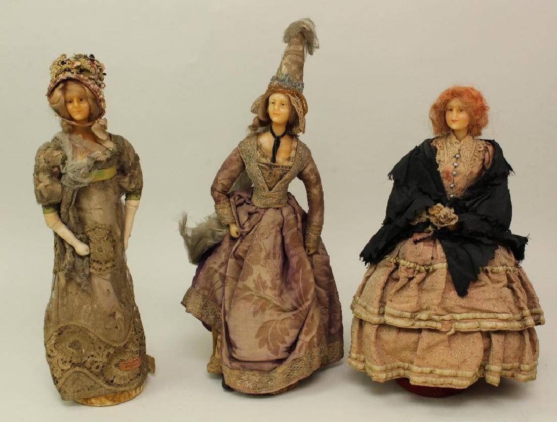 SET OF (3) FRENCH WAX SHOULDER HEAD FASHION DOLLS IN