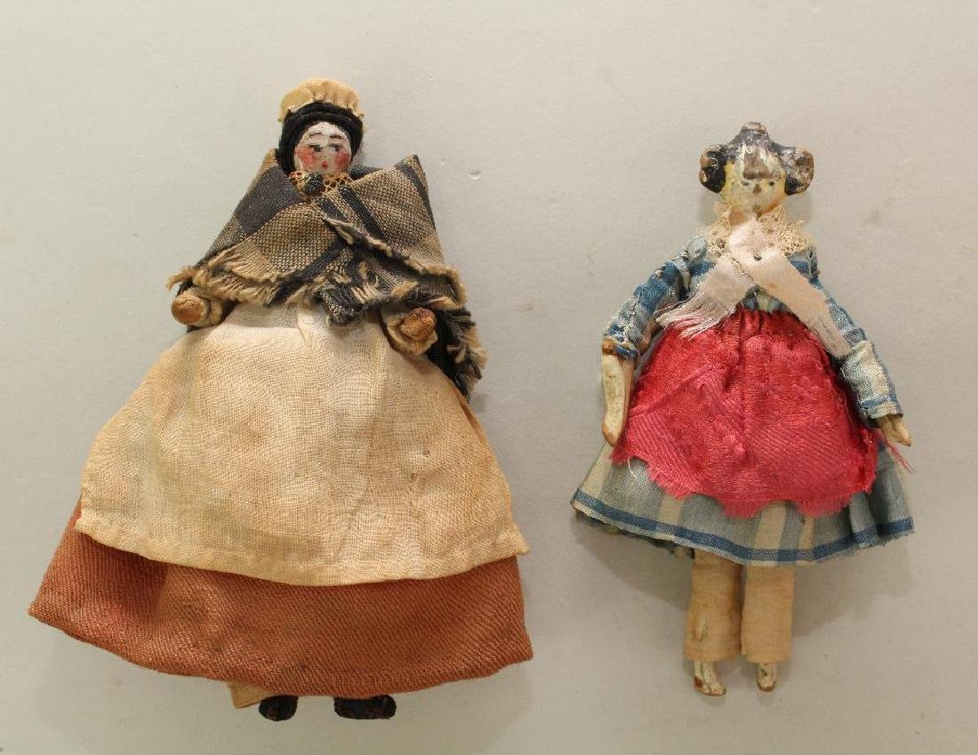 PAIR OF ANTIQUE DOLLS INC. MID 19th C. PEG WOODEN DOLL.