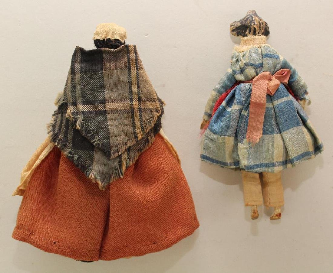 PAIR OF ANTIQUE DOLLS INC. MID 19th C. PEG WOODEN DOLL. - 3