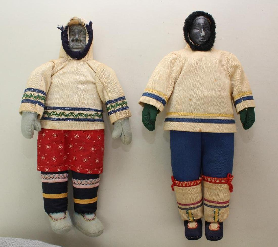PAIR OF ALL ORIGINAL NATIVE AMERICAN/ESKIMO DOLLS .