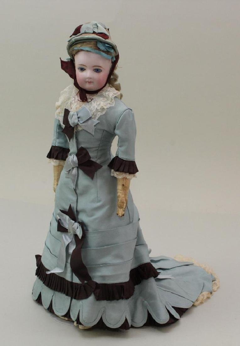 """16""""  """"4"""" ANTIQUE BISQUE HEAD FRENCH  FASHION DOLL."""