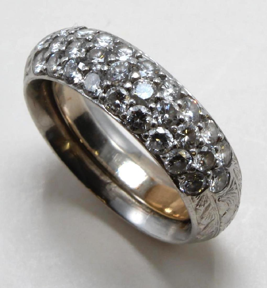 Ring. Diamond. Hand Etched Platinum Band