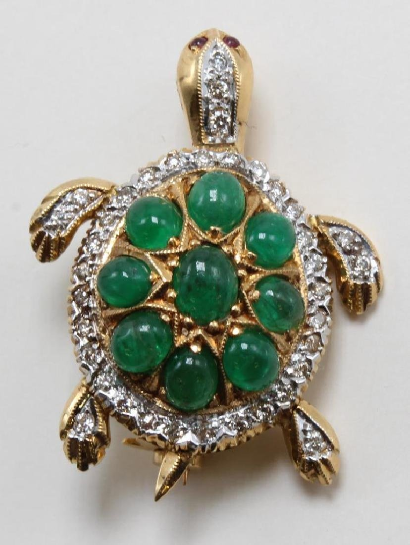 Pin Pendant. Articulated Turtle. Emerald, Ruby and