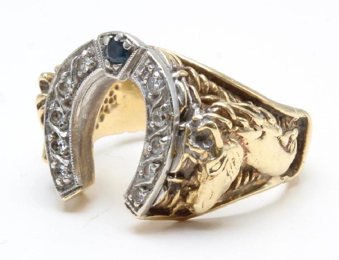 Ring. Equine Motif. Diamond and Sapphire. Horseshoe