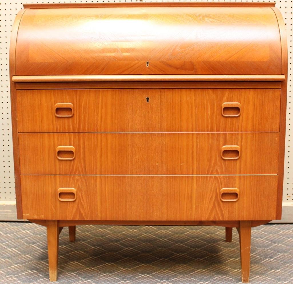 Danish Modern Cylinder Front Desk