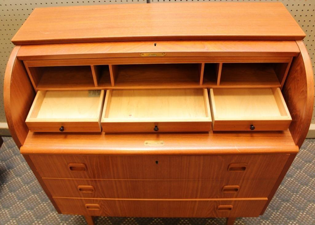 Danish Modern Cylinder Front Desk - 4
