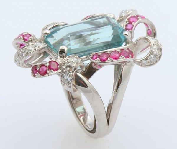 3252: Aquamarine, Ruby and Diamond Ring