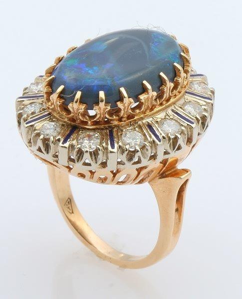 3256: Black Opal and Diamond Ring