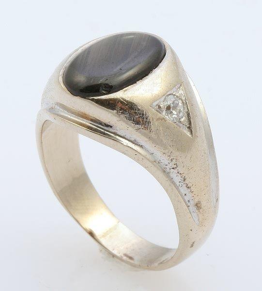 3257: Black Star Sapphire and Diamond Ring