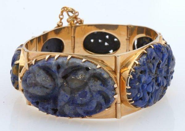 3263: Carved Lapis Bracelet