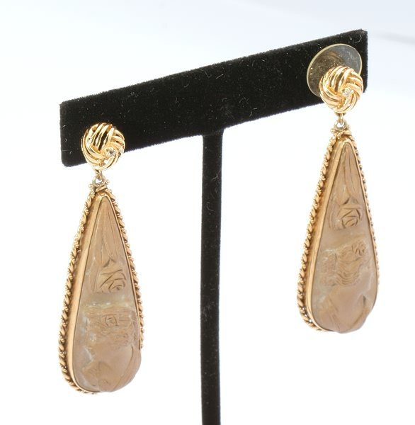 3265: Carved  Cameo Earrings
