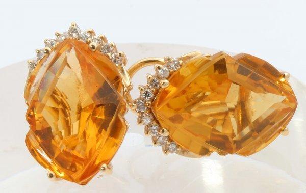 3267: Citrine and Diamond Earrings