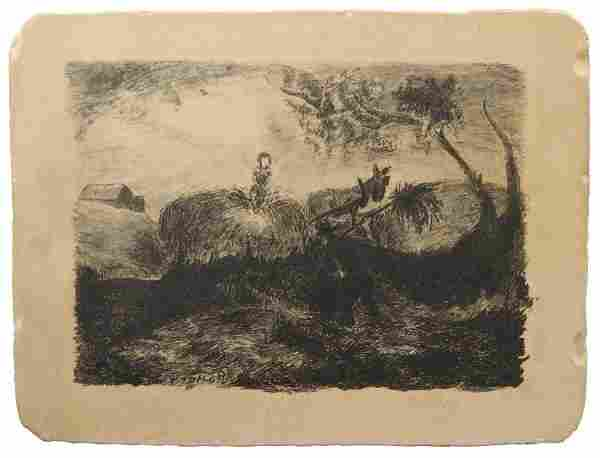 """Jackson Pollock """"Stacking Hay"""" Lithography Stone"""