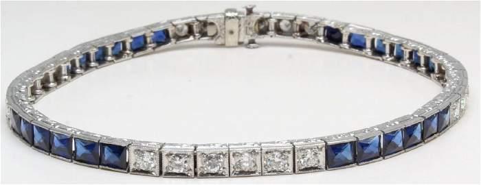 Bracelet. Sapphire and Diamond. Platinum