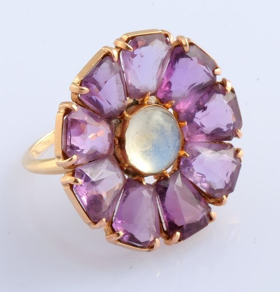 3240: Amethyst and Moonstone Ring