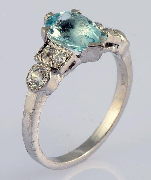 3241: Aquamarine and Diamond Platinum Ring