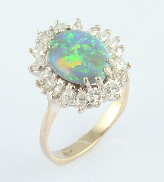 3244: Black Opal and Diamond Ring