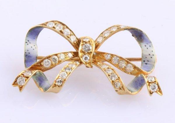 3254: Diamond and Enamel Bow Pin
