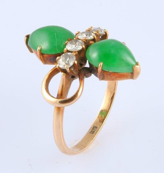 3256: Diamond and Jade Ring