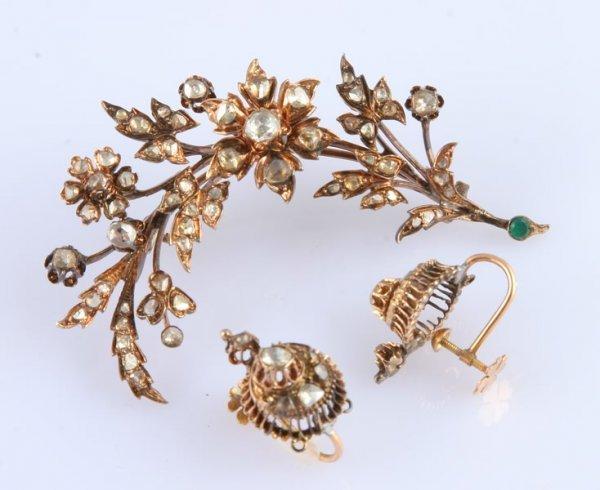 3258: Diamond Brooch and Earrings