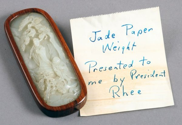 3529: Wood-Mounted Carved Jade Paperweight