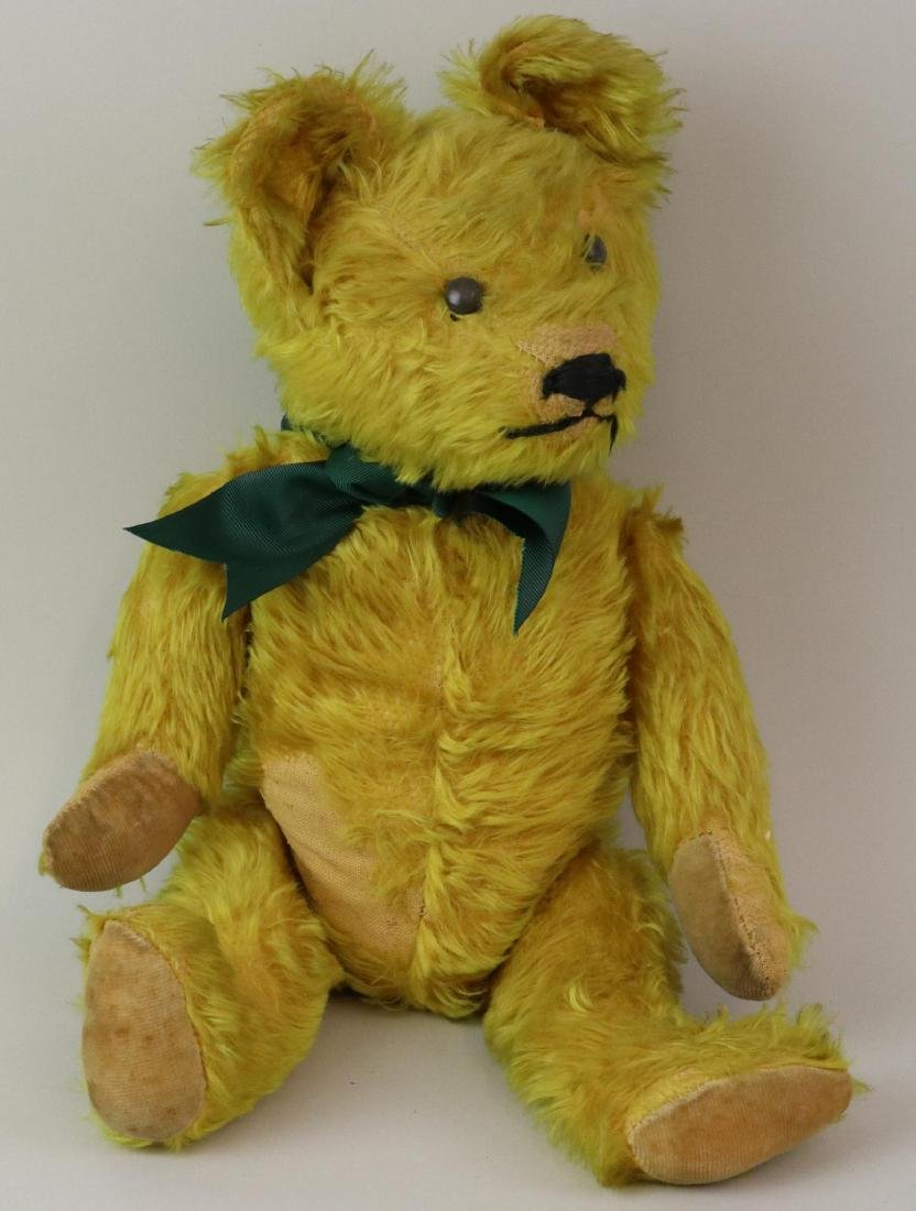 """19""""  UNMARKED ANTIQUE MOHAIR TEDDY BEAR."""