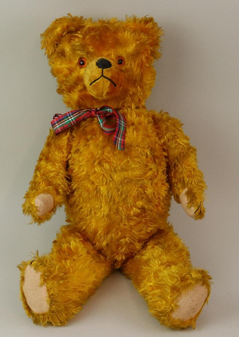 """22"""" UNMARKED ANTIQUE RAYON (?) TEDDY BEAR."""