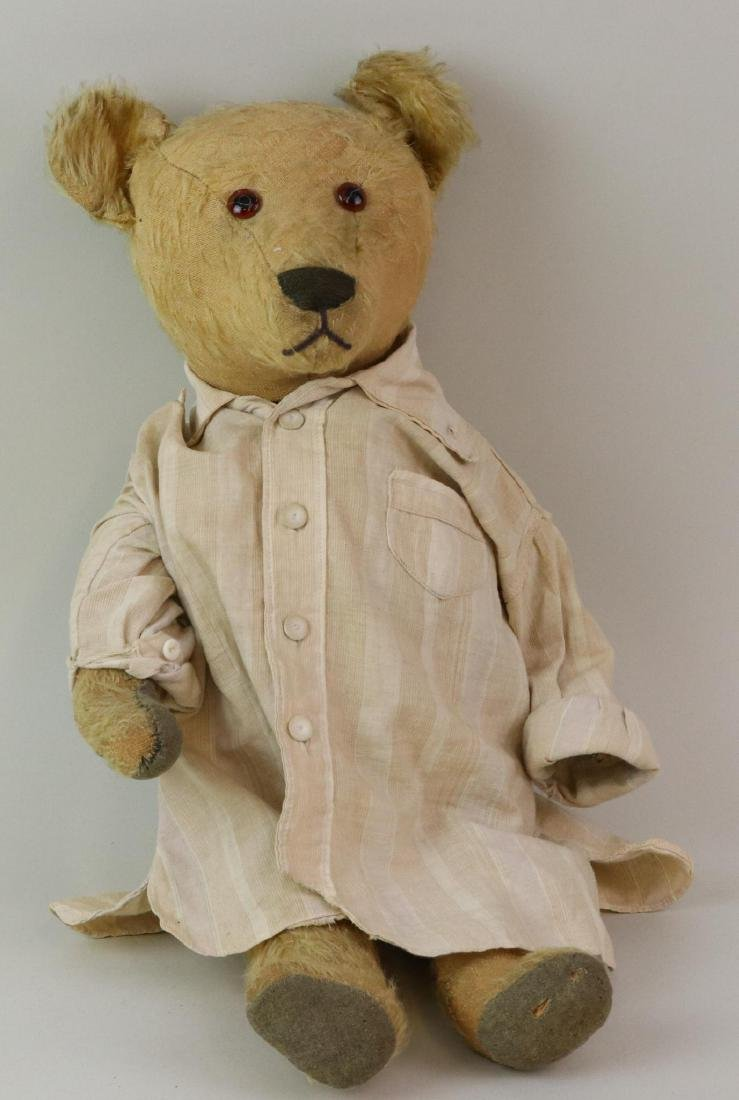 "20"" UNMARKED ANTIQUE MOHAIR TEDDY BEAR."