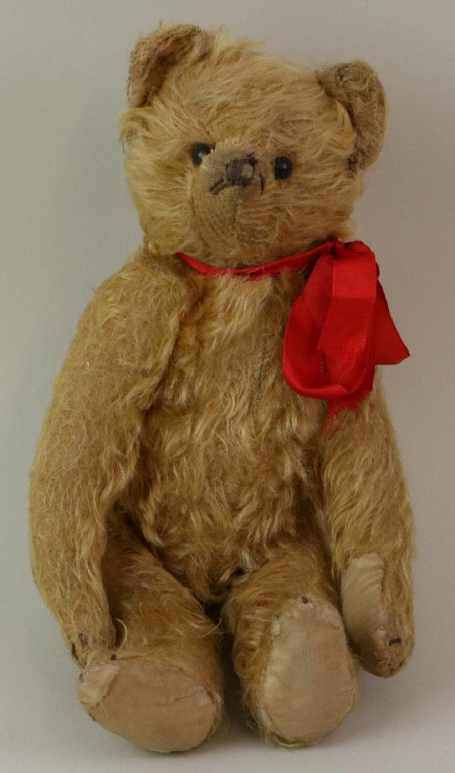 """12"""" UNMARKED ANTIQUE MOHAIR TEDDY BEAR."""