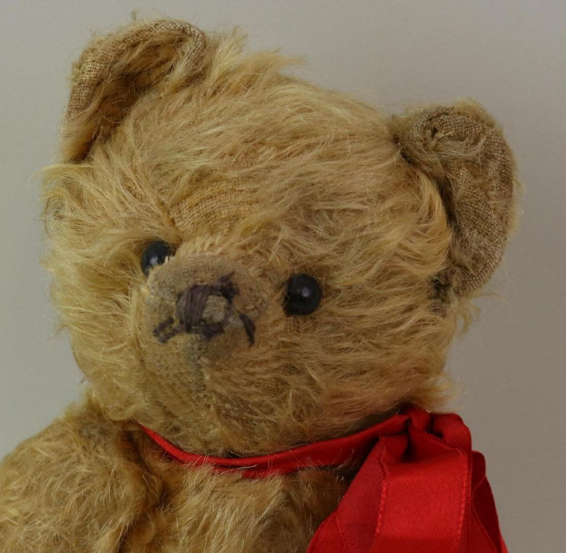 """12"""" UNMARKED ANTIQUE MOHAIR TEDDY BEAR. - 2"""