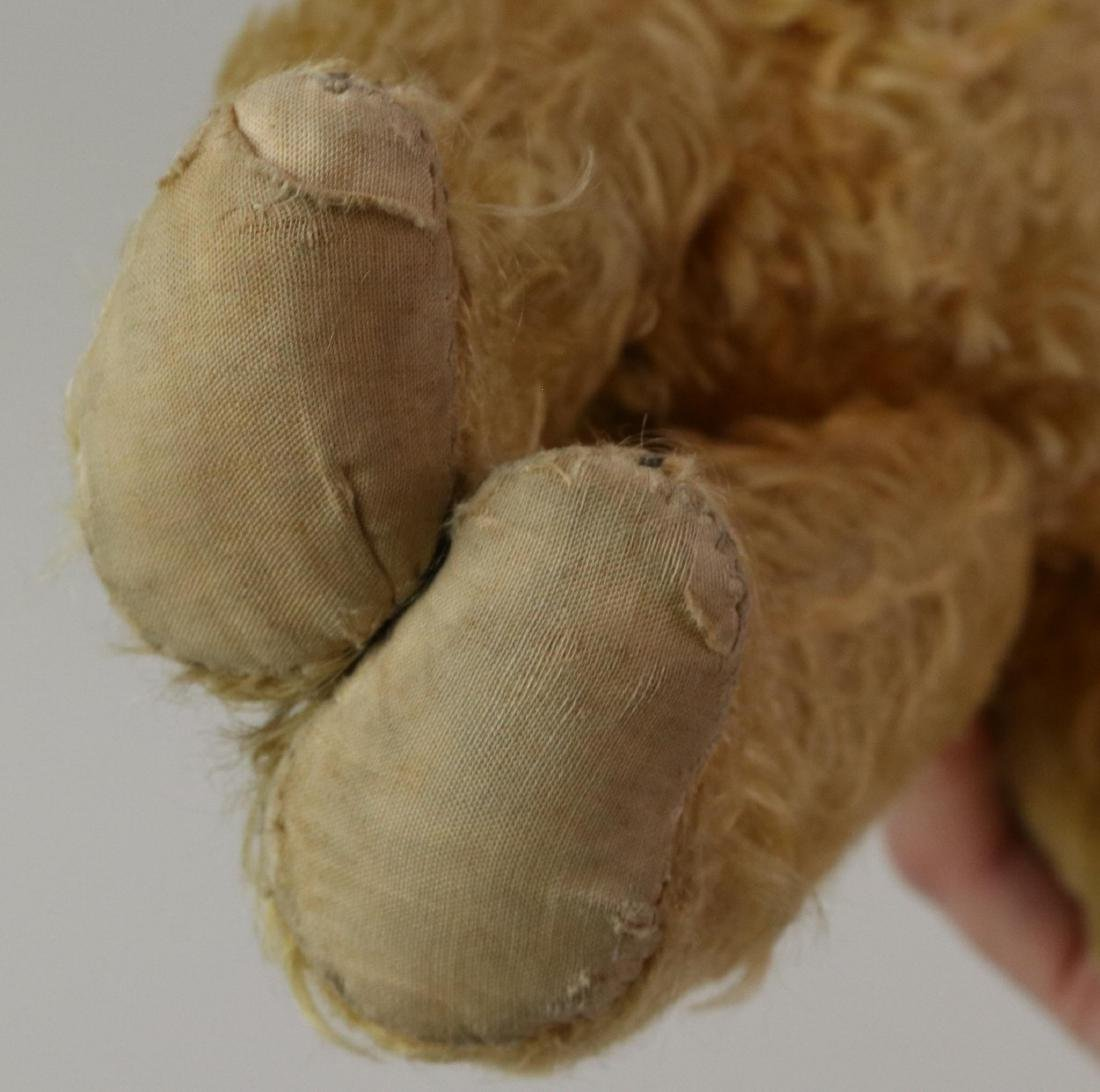 """12"""" UNMARKED ANTIQUE MOHAIR TEDDY BEAR. - 3"""