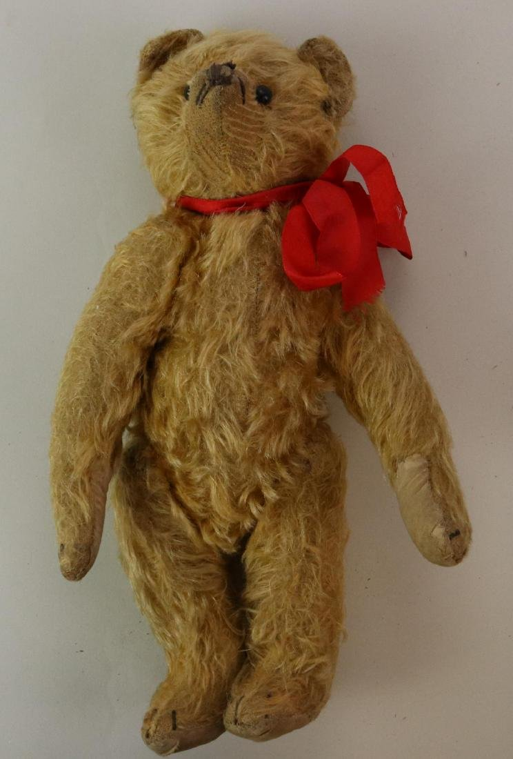 """12"""" UNMARKED ANTIQUE MOHAIR TEDDY BEAR. - 4"""