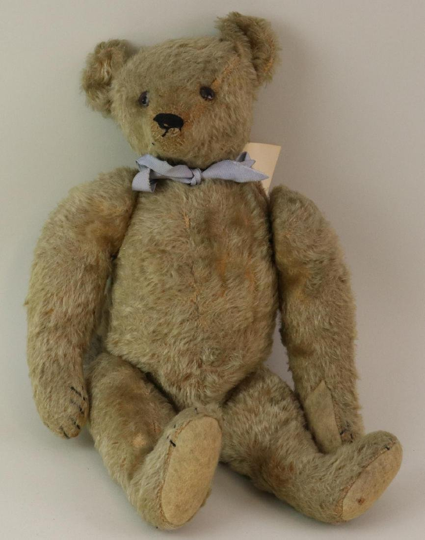 """17"""" UNMARKED ANTIQUE MOHAIR TEDDY BEAR."""