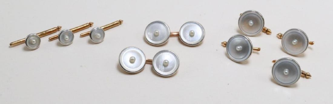 14K Gold Cufflinks and Buttons Boxed Set