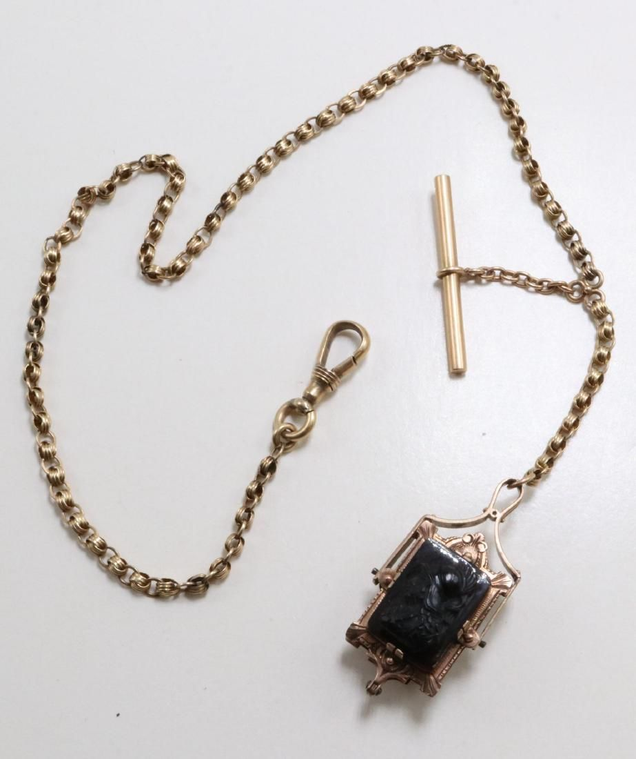 14K Gold Albert Watch Chain. T Bar and Fob